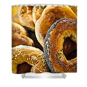 Fresh Bagels Shower Curtain by Elena Elisseeva