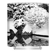 Fresh Snow And Reflections In A Japanese Garden 1 Shower Curtain