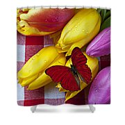 Fresh Tulips And Red Butterfly Shower Curtain