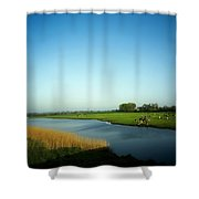 Fresian Cattle, Near Cobh, Co Cork Shower Curtain by The Irish Image Collection
