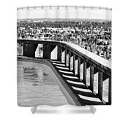 Frey Pool Bw Palm Springs Shower Curtain