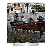 Friends On Park Bench Shower Curtain