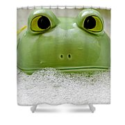 Frog In The Bath  Shower Curtain