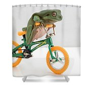 Frog On A Bicycle Shower Curtain