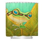 Frog Peeking Out Shower Curtain