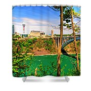 From Usa To Can Over The Rainbow Bridge Shower Curtain