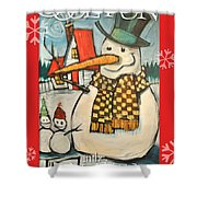 Frosty Family Poster Shower Curtain