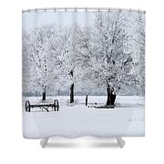 Frosty Morning On Old Wagon Wheels Shower Curtain