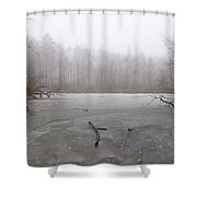 Frozen Lake In Winter Shower Curtain