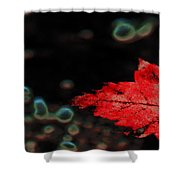 Frozen Red Leaf Shower Curtain