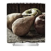 Fruit On A Wooden Stool Shower Curtain