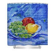 Fruit On Blue Shower Curtain