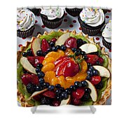 Fruit Tart Pie And Cupcakes  Shower Curtain by Garry Gay