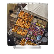 Fruit Vendor In The Kahn Shower Curtain by Mary Machare