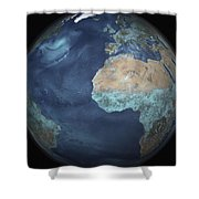 Full Earth Showing Evaporation Shower Curtain