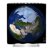 Full Earth Showing The Arctic Region Shower Curtain by Stocktrek Images