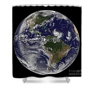 Full Earth Showing Two Tropical Storms Shower Curtain