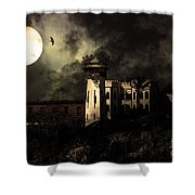 Full Moon Over Hard Time - San Quentin California State Prison - 7d18546 - Partial Sepia Shower Curtain