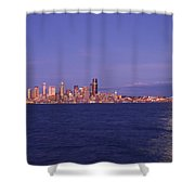 Full Moon Over Seattle Shower Curtain