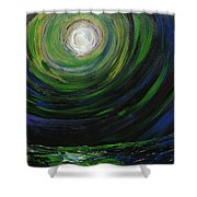 Full Moon Over The Sea Shower Curtain