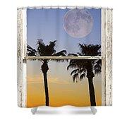 Full Moon Palm Tree Picture Window Sunset Shower Curtain