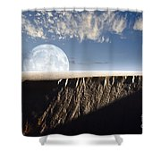 Full Moon Rising Above A Sand Dune Shower Curtain