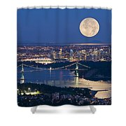 Full Moonrise Over Vancouver, British Shower Curtain