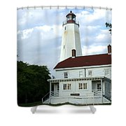 Full View Of Sandy Hook Lighthouse Shower Curtain