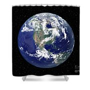 Fully Lit Earth Centered On North Shower Curtain