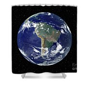 Fully Lit Earth Centered On South Shower Curtain by Stocktrek Images