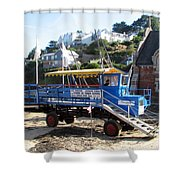 Funky Ferry Landing Vehicle Shower Curtain