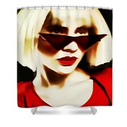 Funky Red Glasses Shower Curtain