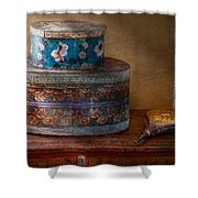Furniture - Hat Boxes With Billow Shower Curtain
