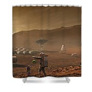 Future Mars Colonists Playing Shower Curtain