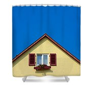 Gable Of Beautiful House In Front Of Blue Sky Shower Curtain