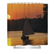 Gaff-rigged Catboat Sails Shower Curtain