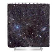 Galaxies M81 And M82 As Seen Shower Curtain by John Davis