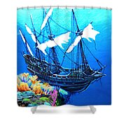 Galleon On The Cliff Filtered Shower Curtain