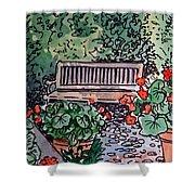 Garden Bench Sketchbook Project Down My Street Shower Curtain by Irina Sztukowski