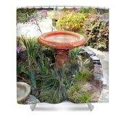 Garden Birdbath Shower Curtain