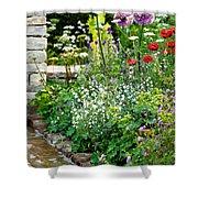 Garden Flowers With Stream Shower Curtain