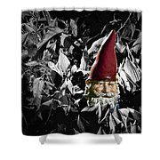 Garden Gnome With Gray Background Shower Curtain