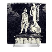 Garden Statue At Villa Capri Shower Curtain
