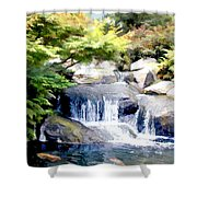 Garden Waterfall With Koi Pond Shower Curtain