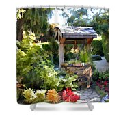 Garden Wishing Well Shower Curtain