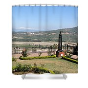 Garden With Some Beautiful Roses Overlooking A Valley With Snow Capped Mountains In The Background Shower Curtain