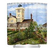 Gardens At Hereford Inlet Lighthouse  Shower Curtain
