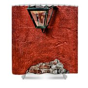 Gaslight On A Red Wall Shower Curtain