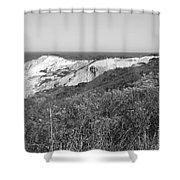 Gay Head Lighthouse With Aquinna Beach Cliffs - Black And White Shower Curtain