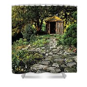 Gazebo And Path, Ballinlough Castle, Co Shower Curtain